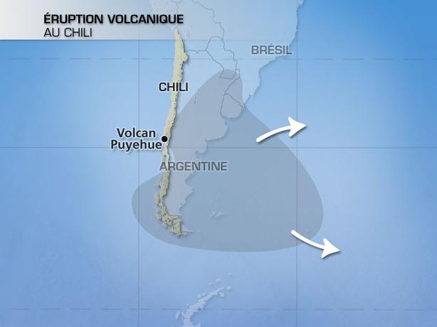 Volcan Puyehue : nuage de cendres en Amérique du Sud