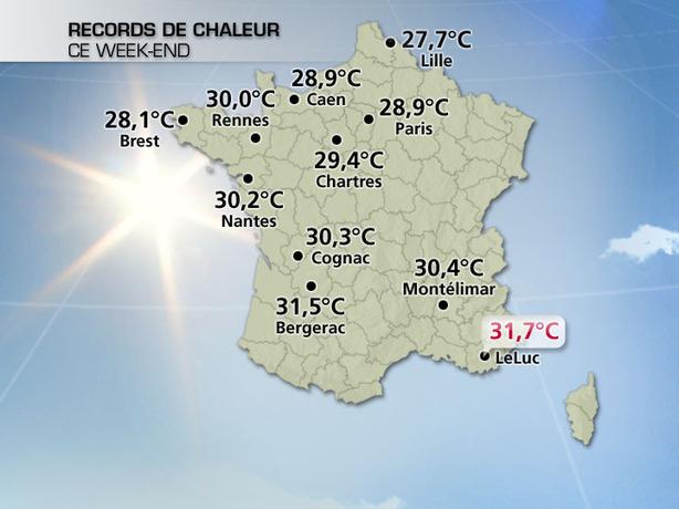 Nombreux records de chaleur battus ce week-end !